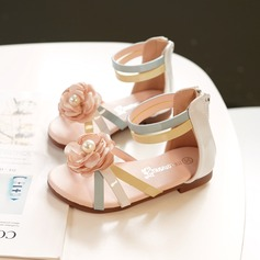 Flicka Peep Toe konstläder Sandaler Platta Skor / Fritidsskor Sneakers & Athletic Flower Girl Shoes med Kardborre Blomma