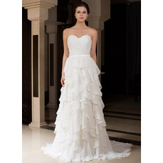 A-Line/Princess Sweetheart Sweep Train Charmeuse Wedding Dress With Beading Cascading Ruffles