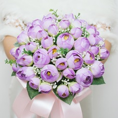 Vivifying Round Artificial Silk Bridesmaid Bouquets