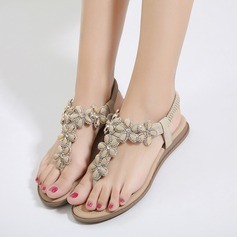 Women's Leatherette Flat Heel Flip-Flops Sandals Beach Wedding Shoes With Imitation Pearl Rhinestone