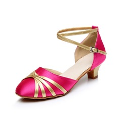 Women's Satin Heels Sandals Ballroom With Ankle Strap Dance Shoes