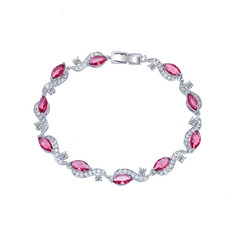 Ladies' Classic Copper/Platinum Plated With Marquise Cubic Zirconia Bracelets For Bride/For Mother