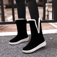 Women's Suede Wedge Heel Boots Mid-Calf Boots With Bowknot Fur shoes