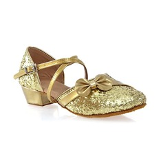 Women's Leatherette Sparkling Glitter Heels Ballroom With Bowknot Buckle Dance Shoes