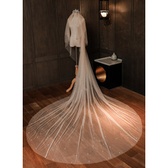 Two-tier Cut Edge Chapel Bridal Veils With Lace