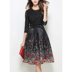 Lace With Stitching/Print Knee Length Dress (199127776)