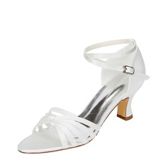 Women's Silk Like Satin Chunky Heel Sandals With Others