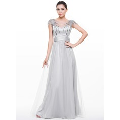 A-Line/Princess Scoop Neck Floor-Length Tulle Evening Dress With Ruffle Sequins