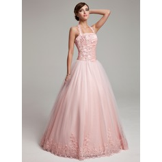Ball-Gown Halter Floor-Length Tulle Prom Dresses With Ruffle Beading Appliques Lace