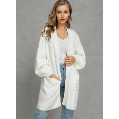 Cable-knit Solid Pocket Polyester Cardigans Sweaters (1002223217)