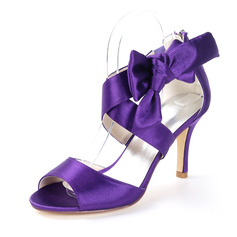 Women's Cloth Stiletto Heel Peep Toe Sandals With Ribbon Tie