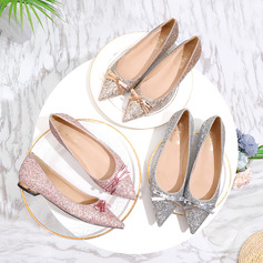 Women's Sparkling Glitter Flat Heel Closed Toe Flats With Bowknot