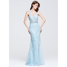 Trumpet/Mermaid V-neck Floor-Length Tulle Prom Dresses With Beading Appliques Lace