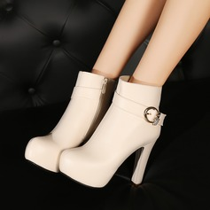 Women's Leatherette Chunky Heel Pumps Platform Boots Ankle Boots With Rhinestone Buckle Zipper shoes