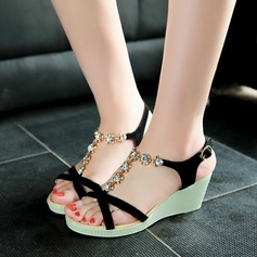 Women's Real Leather Wedge Heel Sandals Wedges Peep Toe Slingbacks With Rhinestone shoes