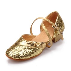 Women's Sparkling Glitter Sandals Ballroom With Buckle Hollow-out Dance Shoes