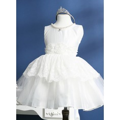 A-Line/Princess Knee-length Flower Girl Dress - Polyester Sleeveless Scoop Neck With Beading/Flower(s)