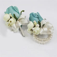 Delicate Artificial Silk/Imitation Pearl Flower Sets (set of 2) - Wrist Corsage/Boutonniere