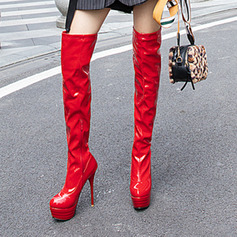 Women's Leatherette Patent Leather Stiletto Heel Pumps Platform Boots Over The Knee Boots shoes