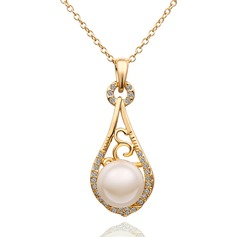 Exquisite Alloy/Rhinestones With Pearl Ladies' Necklaces