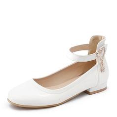 Femmes PU Talon plat Chaussures plates Bout fermé avec Chaîne chaussures