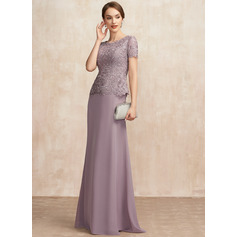 A-Line Scoop Neck Floor-Length Chiffon Lace Mother of the Bride Dress (267256258)