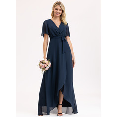 A-Line V-neck Asymmetrical Chiffon Evening Dress With Bow(s) (271235488)