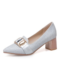 Women's Sparkling Glitter Chunky Heel With Sequin Buckle shoes