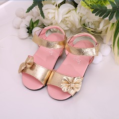 Jentas Titte Tå Leather flat Heel Sandaler Flate sko Flower Girl Shoes med Bowknot Velcro
