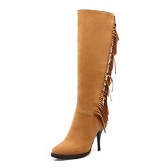 Women's Suede Stiletto Heel Mid-Calf Boots With Zipper Tassel shoes
