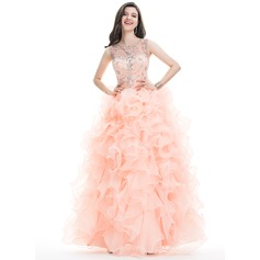 Ball-Gown Scoop Neck Floor-Length Organza Prom Dress With Beading Sequins (018113750)