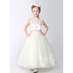A-Line/Princess Ankle-length Flower Girl Dress - Dacron Sleeveless Scoop Neck With Lace/Beading/Flower(s)/Rhinestone