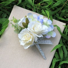 Free-Form Satin Wrist Corsage/Boutonniere (Sold in a single piece) -