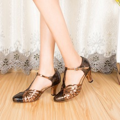 Women's Leatherette Heels Pumps Ballroom With T-Strap Dance Shoes