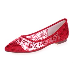 Women's Lace Flat Heel Closed Toe Flats With Sequin