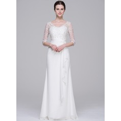 A-Line/Princess V-neck Floor-Length Chiffon Wedding Dress With Beading Sequins Cascading Ruffles (002071532)