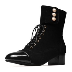 Women's Suede Leatherette Low Heel Closed Toe Boots Ankle Boots Mid-Calf Boots Martin Boots Riding Boots With Imitation Pearl Lace-up shoes