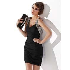 Sheath/Column V-neck Short/Mini Chiffon Cocktail Dress With Ruffle Beading Sequins (016020949)
