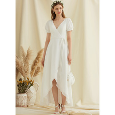 V-neck Asymmetrical Chiffon Wedding Dress (265250915)