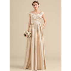 A-Line/Princess Off-the-Shoulder Floor-Length Satin Bridesmaid Dress With Ruffle Pockets