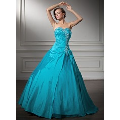 Ball-Gown Sweetheart Floor-Length Taffeta Quinceanera Dress With Embroidered Ruffle Beading Sequins