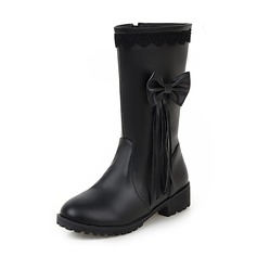 Women's Leatherette Low Heel Closed Toe Boots Mid-Calf Boots With Bowknot Tassel shoes