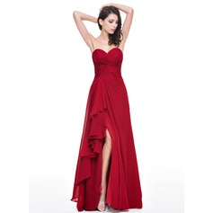 A-Line/Princess Sweetheart Floor-Length Chiffon Evening Dress With Cascading Ruffles