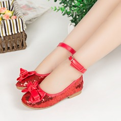 Girl's Fabric Flat Heel Round Toe Closed Toe Flats With Bowknot Sequin Velcro