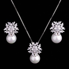 Elegant Alloy/Pearl/Zircon Ladies' Jewelry Sets