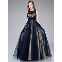 A-Line/Princess Scoop Neck Floor-Length Tulle Prom Dresses With Beading Sequins Bow(s)