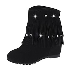 Women's Suede Low Heel Closed Toe Boots Ankle Boots Mid-Calf Boots With Tassel shoes