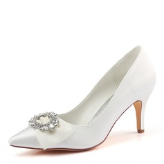 Women's Silk Like Satin Stiletto Heel Pumps With Crystal