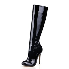 Women's Patent Leather Stiletto Heel Closed Toe Knee High Boots shoes (088017125)
