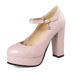 Women's PU Chunky Heel Pumps Platform With Buckle shoes